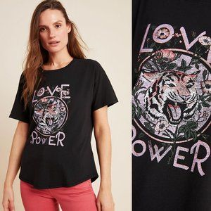 ANTHROPOLOGIE Love is Power Tiger Graphic Tee NWT